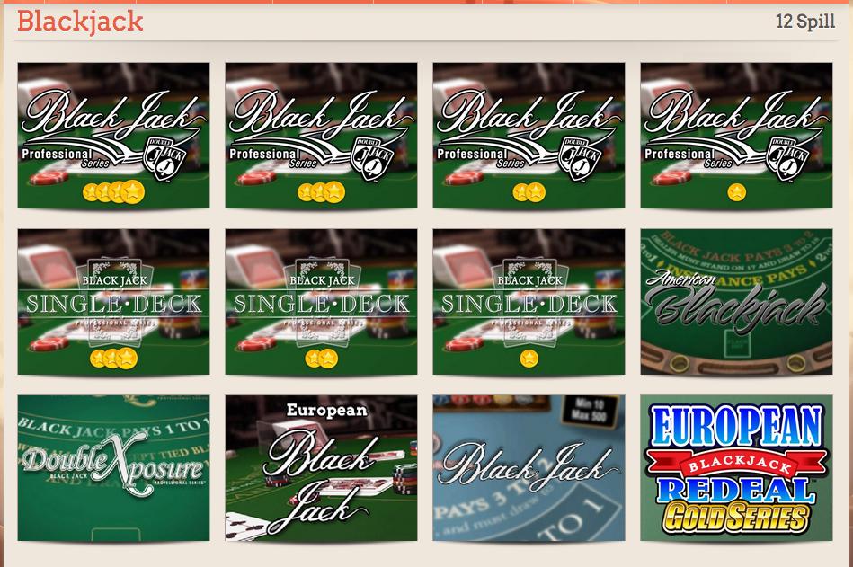Een klein voorbeeld van het aantal verschillende blackjack variaties die je kunt vinden bij online casino's