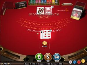 Single deck blackjack bij InterCasino - Simpel en biedt de beste winkansen voor de speler