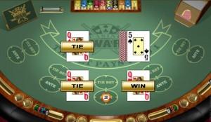 Casino War bij Spin Palace Casino - winnen bij een gelijkspel tegen alle verwachtingen in.
