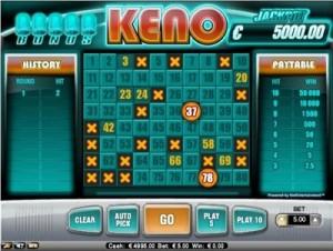 Playtech's Fortune Keno spel - weer een waardeloze ronde.