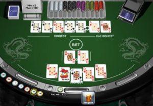 Playtech Pai Gow Poker na de split - dit voorbeeld toont een straight bij de hoge hand