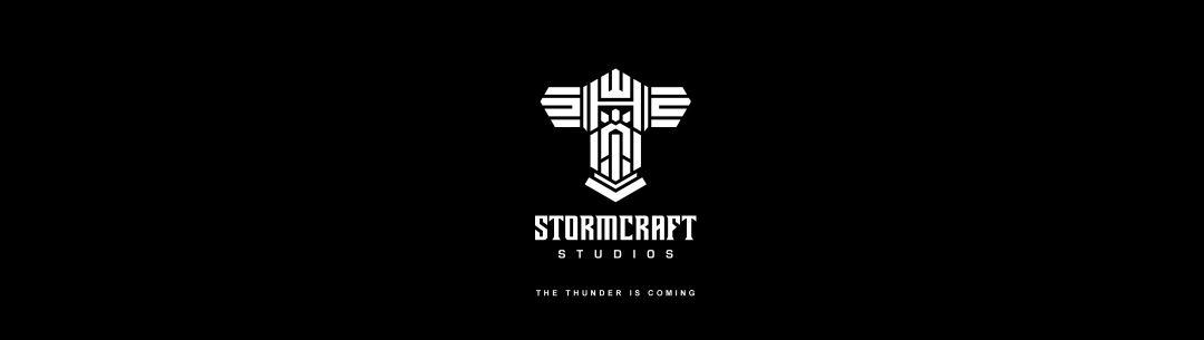 Logo van software-ontwikkelaar Stormcraft Studios in zwart/wit