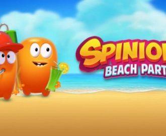 Spinions op het strand met het logo van de gokkast Spinions Beach Party